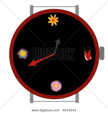 Clock With Flowers