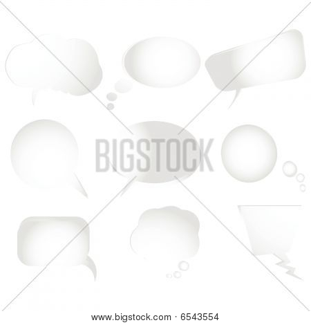 Collection Of Stylized Text Bubbles- Vector Isolated Objects On White