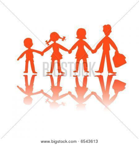 Four Kids Silhouettes