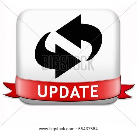 Update button updating software now and here to the latest newest version or new edition
