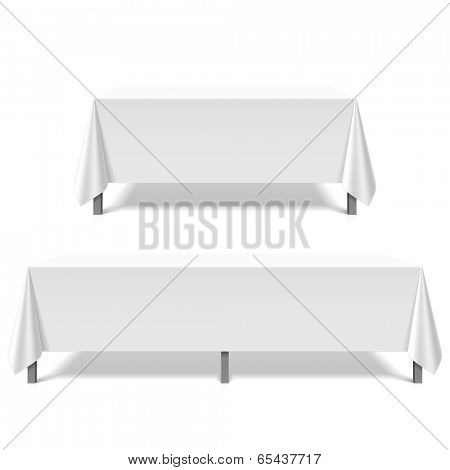 Big tables covered with white tablecloth. Vector.