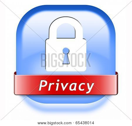 privacy private area protection of personal online data or confidential information, password protected info button or sign
