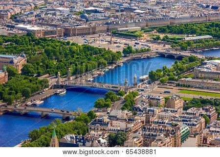 View Of Paris, Pont Alexandre Iii And Place De La Concorde From The Eiffel Tower