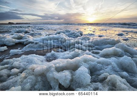 Sea Foam On The Coast Of North Sea
