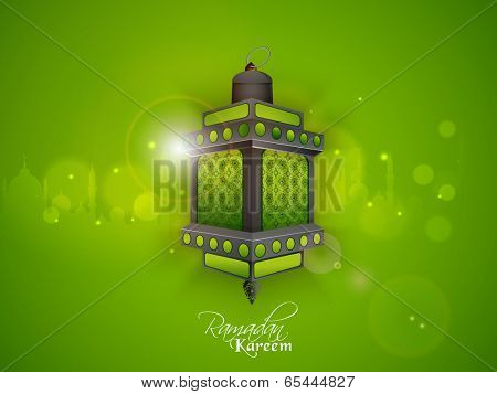 Intricate arabic lantern or lamp on shiny green background for holy month of muslim community Ramadan Kareem, beautiful greeting card or invitation card design.