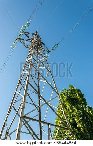 High-voltage Electricity Pylons, View From Below