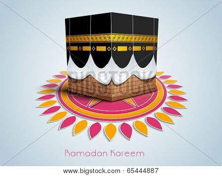 Illustration of Qaba Sharif on colourful floral decorated blue background. Beautiful greeting card design for holy month of muslim community Ramadan Kareem.