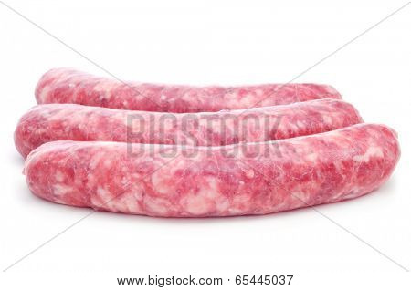 Uncooked pork sausages on a white background.