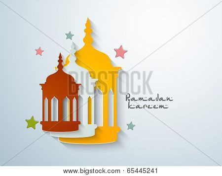 Beautiful greeting card design with colourful Arabic lanterns on stars decorated blue background for holy month of muslim community Ramadan Kareem.