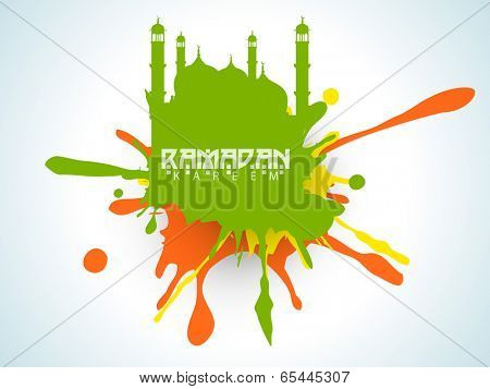 Creative illustration of mosque on colourful grungy background for holy month of muslim community Ramadan Kareem.