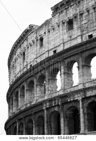 The Colosseum in Rome, Italy, in black and white