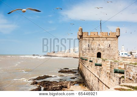 Essaouira: the Portuguese castle. Essaouira is a city in the western Morocco, on the Atlantic coast, Africa.