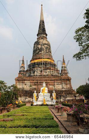 Buddhist Sculpture At Temple In Ayuthaya Thailand
