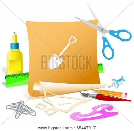 Spade. Paper template. Vector illustration.
