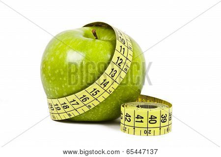 fresh fruit with measuring cintra concept of healthy diet