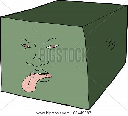 Unhappy Face On Cube