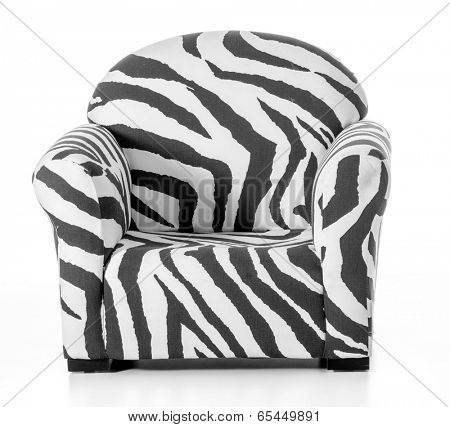 zebra print sofa chair isolated on white background