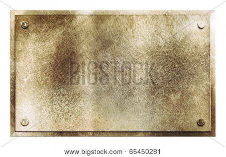 Rustic shiny brass yellow metal sign plate with rivets texture background isolated on white