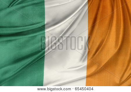 Closeup of silky Irish flag