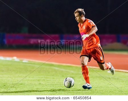 Sisaket Thailand-may 21: Albert Manteca Baldo Of Sisaket Fc. (orange) Runs For The Ball During Thaic