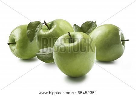 Four Granny Smith Apples Isolated On White