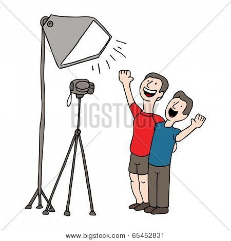 An image of two men having a video taping session.