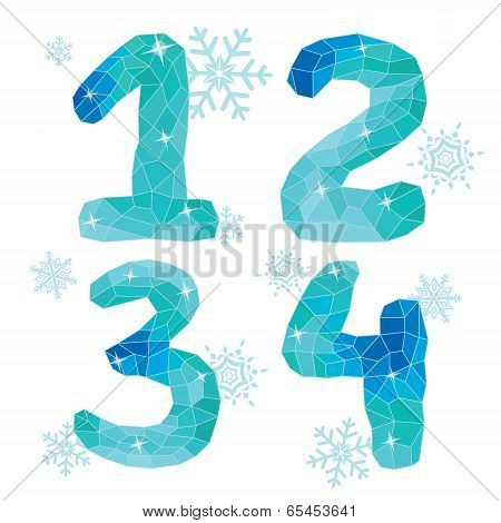 Multicolor Polygons Isolated Numbers  1,2,3,4.ice Winter Collection