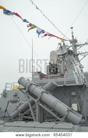 Harpoon cruise missile launchers on the deck of US guided missile destroyer USS Cole