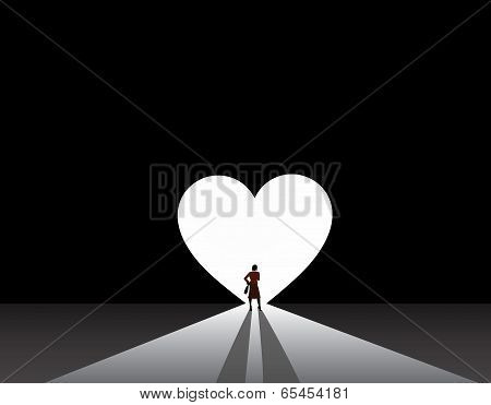 Stylish Nicely Dressed Business Woman Silhouette Stand Front Of Big Love Heart Door