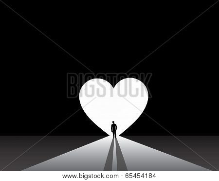 Stylish well Dressed Man Silhouette Stand Front Of Big Love Heart Door