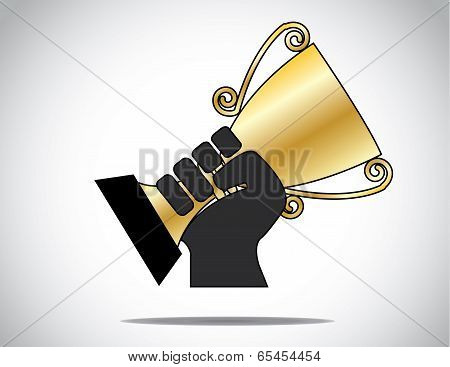 A Unique Hand Silhouette Proudly Displaying Holding & Lifting Golden Cup Won In Compitition