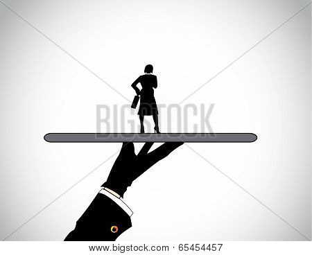 A Head Hunter's Hand Silhouette Presenting Dressed Professional Business Woman.