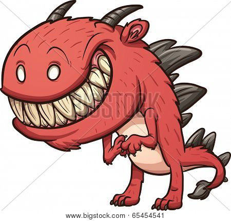 Smiling cartoon monster. Vector clip art illustration with simple gradients. All in a single layer.