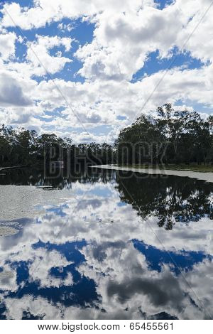 Cloudy Sky Reflected In River In Australia