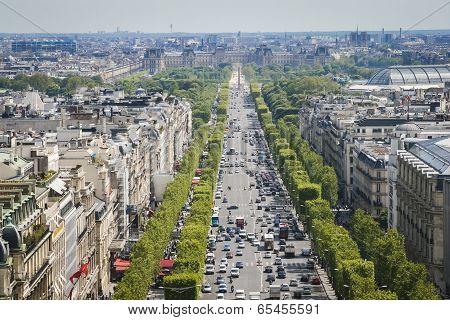Paris Skyline Towards The Louvre