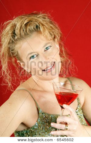 Blond Woman With Red Drink