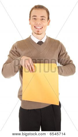 Young Well-dressed Man With An Envelope.