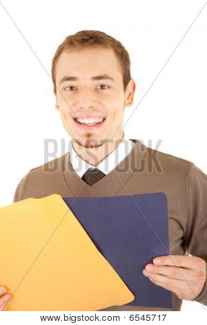 Young Well-dressed Smiling Man With Envelop And File