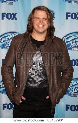 LOS ANGELES - MAY 21:  Caleb Johnson, Winner American Idol at the American Idol Season 13 Finale at Nokia Theater at LA Live on May 21, 2014 in Los Angeles, CA