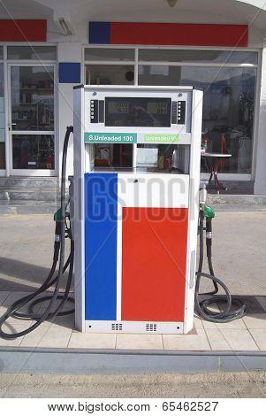 petrol pump. refuel hose. refuel nozzles