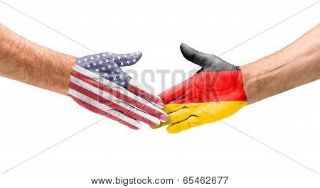 Handshake USA and Germany on a white background