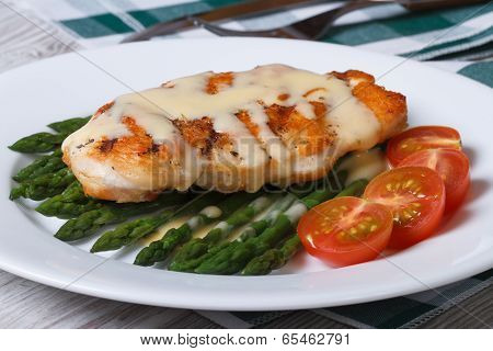 Chicken Breast With Asparagus And Hollandaise Sauce Closeup