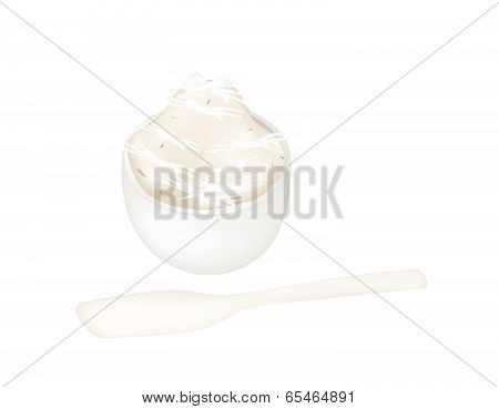 Thai Dessert Of Banana Pudding In A Bowl