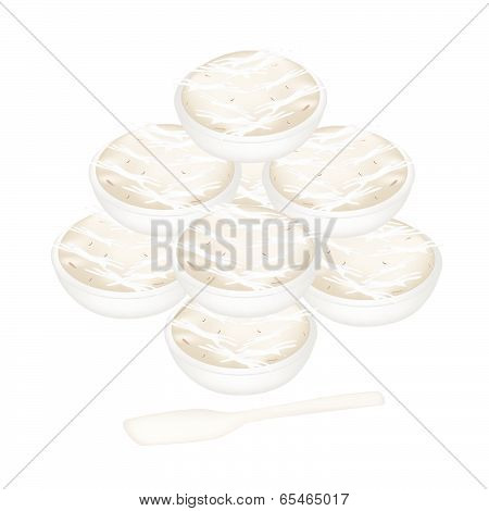 A Stack Of Banana Sweetmeat In Bowls