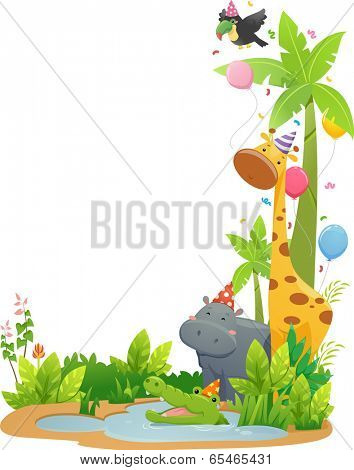 Border Illustration Featuring Safari Animals Wearing Party Hats