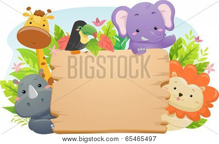 Illustration Featuring Cute Safari Animals Holding a Blank Wooden Sign