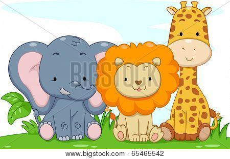 Illustration Featuring Cute Baby Safari Animals poster