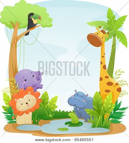 Background Illustration Featuring Cute Safari Animals