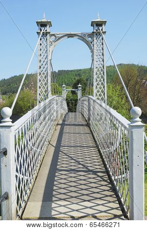Summer Shadows On Pedestrian Bridge At Peebles