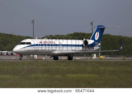 Belavia Canadair CRJ-100ER aircraft preparing for take-off from the runway